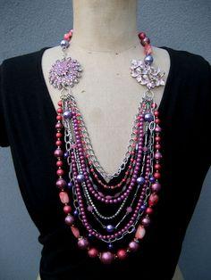 SALE, Vintage Necklace, Asymmetrical Necklace,  Flower Necklace, Statement Necklace. $115.00, via Etsy.