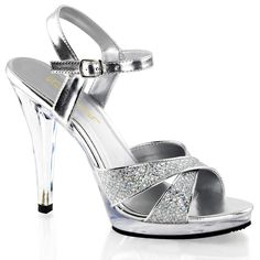 Womens Glam Silver Glitter Sandals with 4.5'' Clear Heels Strappy Dress Shoes Size: 8. Womens sizing silver glitter strappy sandals. 4.5 inch clear heels. 5 inch platform. Criss cross silver glitter top strap. Metallic silver ankle strap with adjustable buckle closure.