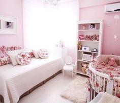 Quarto de bebê feminino rosa estilo floral
