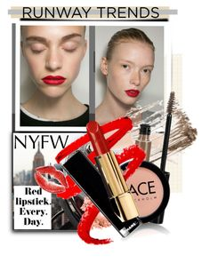 """Red trend"" by vicuka ❤ liked on Polyvore featuring beauty, Topshop, FACE Stockholm, NYFW and Beauty"