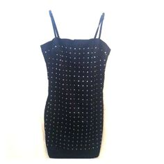 "H&M Black Studded Dress In excellent condition. Hardly worn. Back zipper. Adjustable straps. Bust - 30"". Waist - 26. Length - 28"". Fully lined. 100% polyester. Wash inside out. H&M Dresses Mini"
