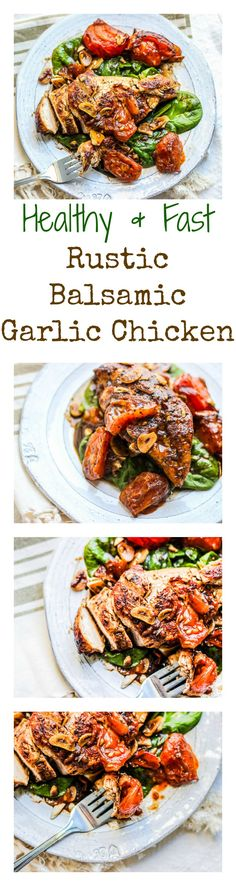 So healthy and yummy! This Balsamic Garlic Chicken with Tomatoes, Spinach, and fresh lemon is bursting with flavor and is the easiest dinner to make! Healthy Chicken Recipes, Paleo Recipes, Cooking Recipes, Clean Eating, Healthy Eating, Healthy Foods, Easy To Make Dinners, Garlic Chicken, Balsamic Chicken