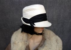 60's White Leather Cloche Hat with Black Band  by ElkHugsVintage