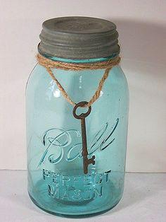 Ball Canning Jar with SKELETON KEY Antique by LavenderGardenCottage etsy