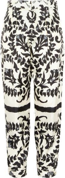 Chloé   Floralprint Silk Tapered Pants   Lyst