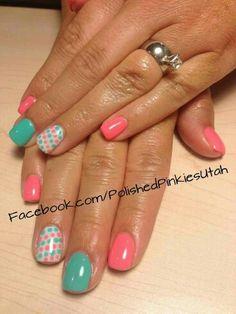 Pink & Teal Nails