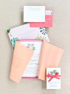 Colorful floral wedding invitation suite