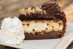 Layers of Moist Chocolate Cake, Chewy Brownie, Toasted Coconut-Pecan Frosting and Creamy Chocolate Chip Coconut Cheesecake. A fan Favorite! - Chris' Outrageous Cheesecake™