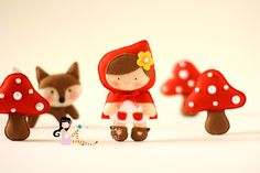 another felt little red with not-so-big-bad wolf and adorable mushrooms from erica catarina
