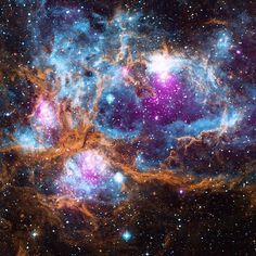 """Cosmic 'Winter' Wonderland: Although there are no seasons in space, this cosmic vista invokes thoughts of a frosty winter landscape. It is, in fact, a region where radiation from hot, young stars is energizing the cooler gas in the cloud that surrounds them. Located in our galaxy about 5,500 light years from Earth, it is actually a """"cluster of clusters,"""" containing at least three clusters of young stars, including many hot, massive, luminous stars. There are bubbles, or cavities, that have…"""