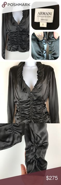 """Armani collezioni blouse NWOT made in Italy Italian Brown silky 10  button blouse with figure enhancing rushing. Tapered zipper sleeves 18"""" W 10"""" from neckline to bottom. 26"""" sleeve Made in Italy Extra button ( shiny polymer) (Lot2 Armani Collezioni Tops Blouses"""