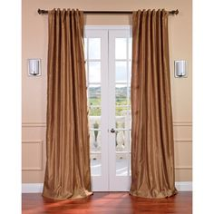 Flax Gold Vintage Faux Textured Dupioni Silk Curtain Panel | Overstock.com Shopping - Great Deals on EFF Curtains