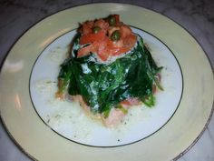 Today's Starter: Smoked Salmon with Sauteed Spinach topped with Diced Tomatoes and Capers in a Dill Butter Cream Sauce. YUMMY!!!