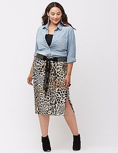 Plus Size Animal Midi Pencil Skirt ~ LOVE that leopard print skirt!!!