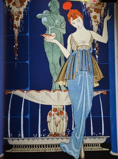 'La Fontaine de coquillages' (The Fountain of Shells) Gazette du Bon Ton - March 1914 - by George Barbier (French, 1882-1932) - Photo: © Fortuny Museum, Venice - @~ Mlle