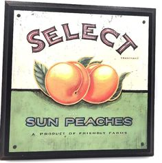 """Vintage 11"""" X 11"""" Wood Print Sun Peaches Art Wall By Angela By Staehling"""
