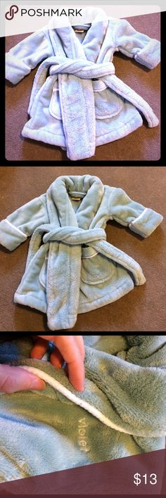 """Baby girl robe This robe is SO thick and plush. It cost about $50 and you can tell. It does have """"Violet"""" embroidered on it, but the collar covers it and you can't see it. Price is firm! I don't accept offers. No trades. Bundle and save! Like new. Pajamas Robes"""