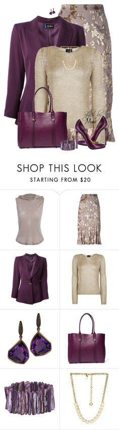 """Metallic Jacquard (2.14.17)"" by stylesbymimi ❤ liked on Polyvore featuring Etro, Claude Montana, Topshop, Plukka, Lanvin, Christian Louboutin and Kate Spade"