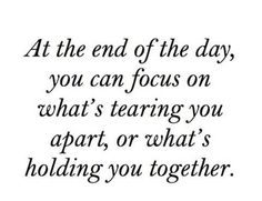 What's holding you together...