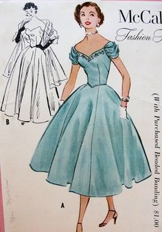 1950s EVENING DRESS or GOWN PATTERN STOLE, OFF SHOULDERS NECKLINE or STRAPLESS McCALLS 9567
