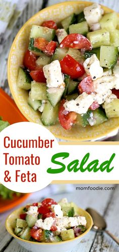 Cucumber Tomato Feta Salad Recipe - Perfect side for grilled meats and Mediterranean food. Great on sandwiches or on it's own as a light meal.