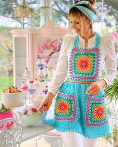 Crochet Home, Crochet Gifts, Free Crochet, Apron Pattern Free, Apron Patterns, Dress Patterns, Cute Aprons, Vintage Crochet Patterns, Crochet Fashion