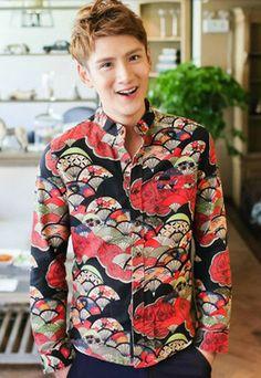 Vintage Oriental Print Dress Shirt