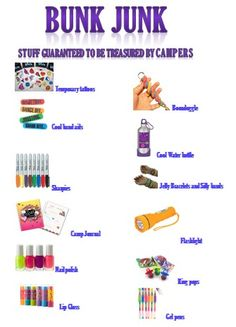 Any experienced counselor will tell you- this is the stuff every (girl) camper wants. this stuff is worth gold to them at camp! Summer Camp Packing, Camping Packing, Camping Games, Camping Checklist, Camping Life, Camping With Kids, Camping 101, Pine Cove Camp, Camp Care Packages