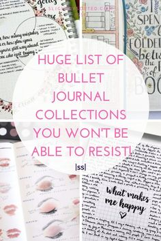 Here's one huge list of bullet journal collections with lots of examples! There are some really inspiring bullet journal collection ideas here, I'm definitely going to be pinching some of these ideas for my bullet journal! Digital Bullet Journal, Bullet Journal Hacks, Bullet Journal How To Start A, Bullet Journal Ideas Pages, Bullet Journal Layout, Journal Prompts, Bullet Journal Inspiration, Journal Pages, Art Journals