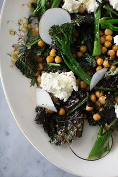 A healthy dinner idea: Roasted Kale, Broccolini and Chickpea Salad with Ricotta.