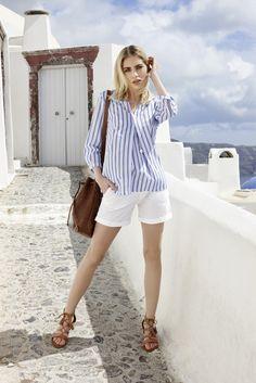 Die schönsten #Damen #Citylooks für den #Sommer2016. #Sommermode #Santorini #Womenswear #Reischmann #Bluse #Shorts #summer