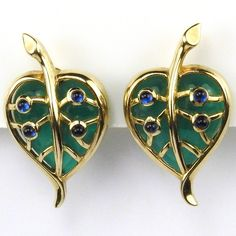 Trifari Gold Heart Shaped Emerald Jelly Belly Leaves Valentines Clip Earrings | Jewelry & Watches, Vintage & Antique Jewelry, Costume | eBay!