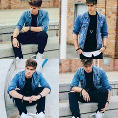 Alex Mapeli - Look Inspirado , SoufelizQuando 4 Casual Jeans, Casual Outfits, Men Casual, Alex Mapeli, Best Leather Jackets, Boy Photography Poses, Mens Fashion Blog, Trendy Mens Fashion, Masculine Style