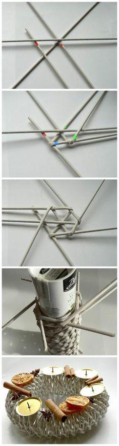 Fotopostup na papierové pletenie - pletený venček