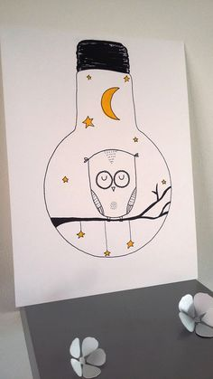 "Poster Illustration bulb ""owl so !"" Poster Illustration bulb ""owl so !"": Posters, illustrations, posters by stefe-reve-en-feutrine Illustrations And Posters, Illustrations Posters, Illustration, Art Drawings, Drawings, Doodle Art, Art, Cute Drawings, Hand Art"