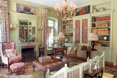 English country style interior with bit too much flower fabric.