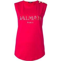 Balmain logo T-shirt ($165) ❤ liked on Polyvore featuring tops, t-shirts, logo tees, sleeveless t shirt, cotton logo t shirts, balmain t shirt and long length t shirts