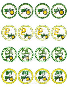 "Printable ""TRACTOR CUPCAKE TOPPERS"" - John Deere Themed Cupcake Toppers - Tractor Party Circles - John Deere Party Circles - Tractor Party"