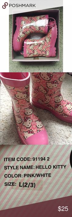 Pink Hello Kitty Rainboots Almost brand new Hello Kitty rainboots. I purchased these with the intention to wear them whenever it rained but never reached for them so it's time to pass them on. Worn 3-4 times and have been in the box since. Youth size 2-3. Hello Kitty Shoes Rain & Snow Boots