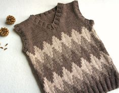 Knit baby vest, wool baby tank, knitted brown ves, boys hand knit vest : – The Best Ideas Knitting Patterns Boys, Knitting Designs, Baby Patterns, Hand Knitted Sweaters, Boys Sweaters, Knitted Baby, Girls Knitted Dress, Handgestrickte Pullover, Toddler Vest