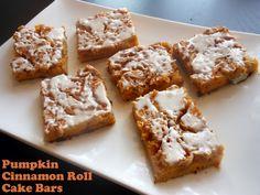 Flavors by Four: Pumpkin Cinnamon Roll Cake Bars