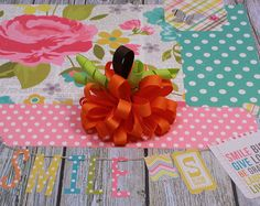 ONE Fall Pumpkin Hair Bow / Boutique Funky by LilPinkFashionista, $5.50