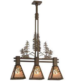 """30""""L Winter Pine Tall Pines 3 Lt Rustic Island Pendant"""