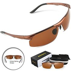 Torege Mens Sports Style Polarized Sunglasses For Cycling Running Fishing Driving Golf Unbreakable AlMg Metal Frame Glasses M291 Light Brown * More info could be found at the image url. (Note:Amazon affiliate link)
