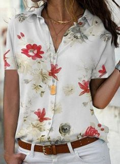 FloryDay / New Year Sale Floral Casual Collar Short Sleeve Blouses Preppy Wardrobe, Camisa Floral, Latest Fashion For Women, Womens Fashion, Fashion Online, Fashion Trends, Sequin Party Dress, Country Shirts, Mode Outfits