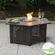 Hex LP Gas Fire Pit Bowl with Slate Tile Mantel