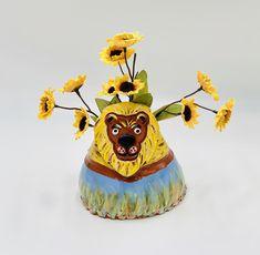 Hand Painted Lion Vase or Utensil Holder in Terra Cotta Clay Ceramic or Pottery Inside The Box, Clay Vase, Utensil Holder, Pottery Designs, White Clay, Studio Art, Terra Cotta, Art Studios, Special Gifts
