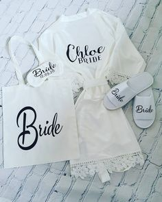 Morning of the wedding package! Includes personalised lace robe matching colour eye mask, spa slippers & tote bag All in white, if you would like other colours, or different style font & colour please do message we have lots to offer! Plus Size Robes, Spa Slippers, Name Place Cards, Personalized Tote Bags, Wedding Name, Bridal Lace, Beautiful Bride, Trending Outfits, Packaging Ideas