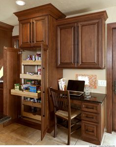 Cherry Kitchen Cabinets With Gray Wall And Quartz Countertops Ideas Glass Kitchen Cabinet Doors, Kitchen Cabinetry, Glass Doors, Kitchen And Bath Design, Modern Kitchen Design, Home Renovation, Home Remodeling, Kitchen Lighting Over Table, Kitchen Desks