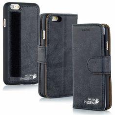 Golden Phoenix iPhone 6 Plus Handyhülle Royal Wallet-Case Wildleder schwarz
